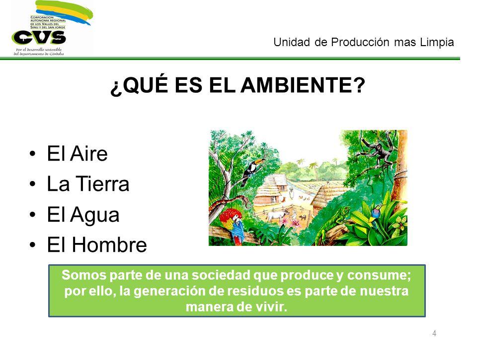 Unidad de Producción mas Limpia 4 ¿QUÉ ES EL AMBIENTE? El Aire La Tierra El Agua El Hombre Somos parte de una sociedad que produce y consume; por ello