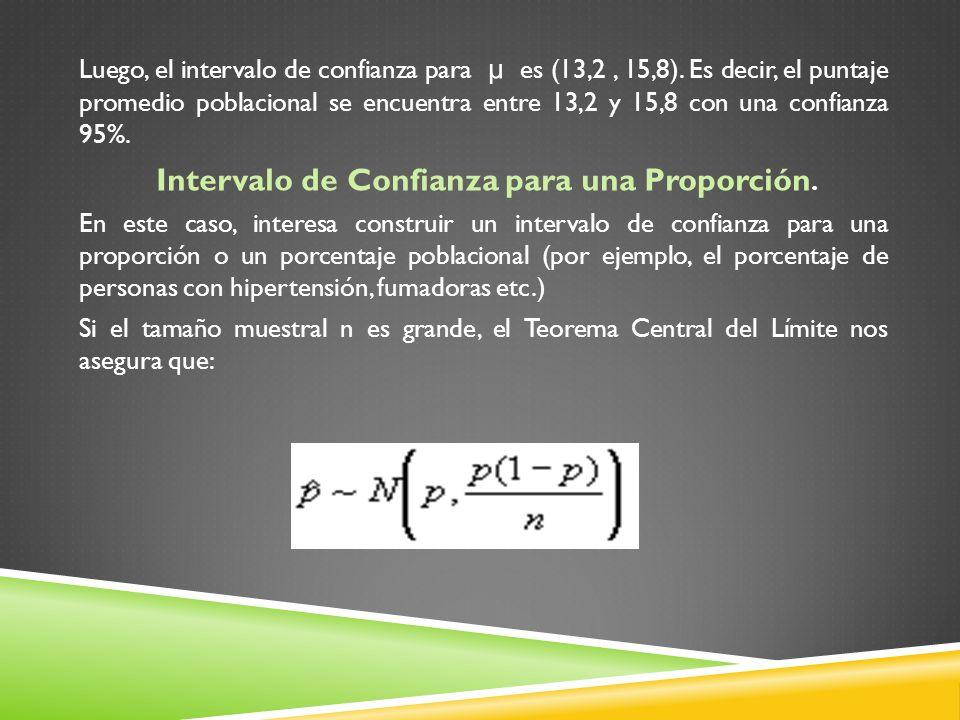 Luego, el intervalo de confianza para µ es (13,2, 15,8). Es decir, el puntaje promedio poblacional se encuentra entre 13,2 y 15,8 con una confianza 95