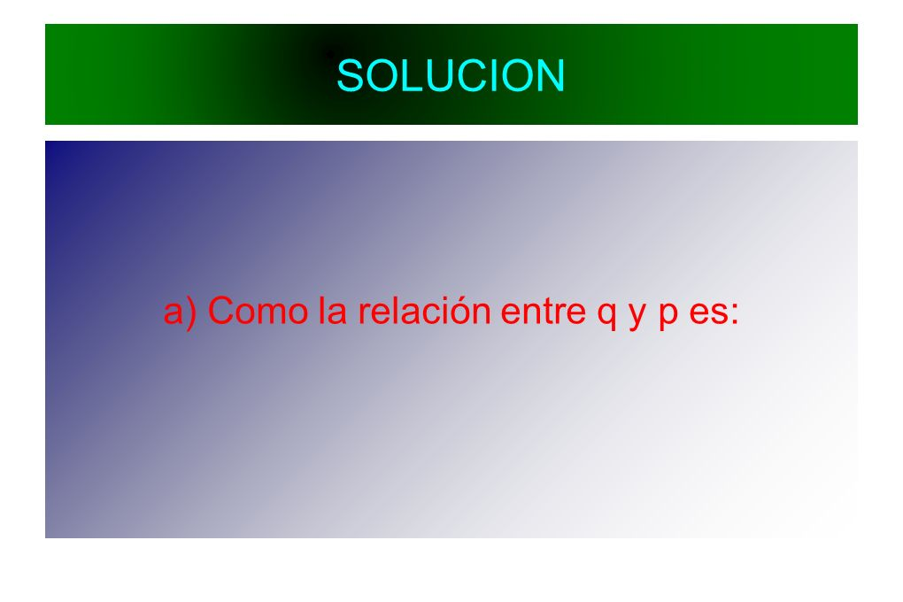 SOLUCION a) Como la relación entre q y p es: