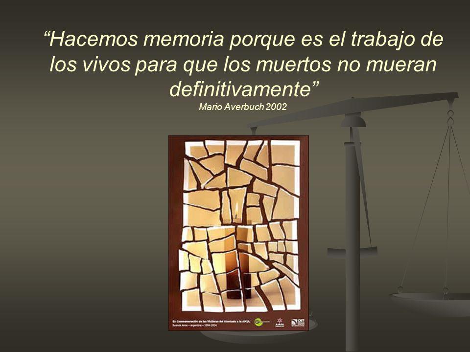 Hacemos memoria porque es el trabajo de los vivos para que los muertos no mueran definitivamente Mario Averbuch 2002
