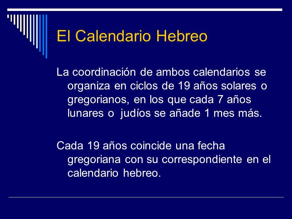 El Calendario Hebreo La coordinación de ambos calendarios se organiza en ciclos de 19 años solares o gregorianos, en los que cada 7 años lunares o jud
