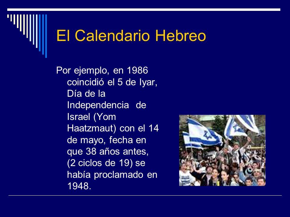 El Calendario Hebreo Por ejemplo, en 1986 coincidió el 5 de Iyar, Día de la Independencia de Israel (Yom Haatzmaut) con el 14 de mayo, fecha en que 38