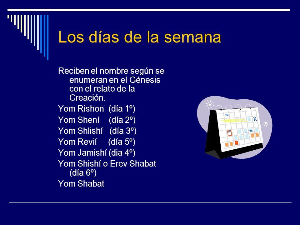 Los días de la semana Reciben el nombre según se enumeran en el Génesis con el relato de la Creación. Yom Rishon (día 1º) Yom Shení (día 2º) Yom Shlis