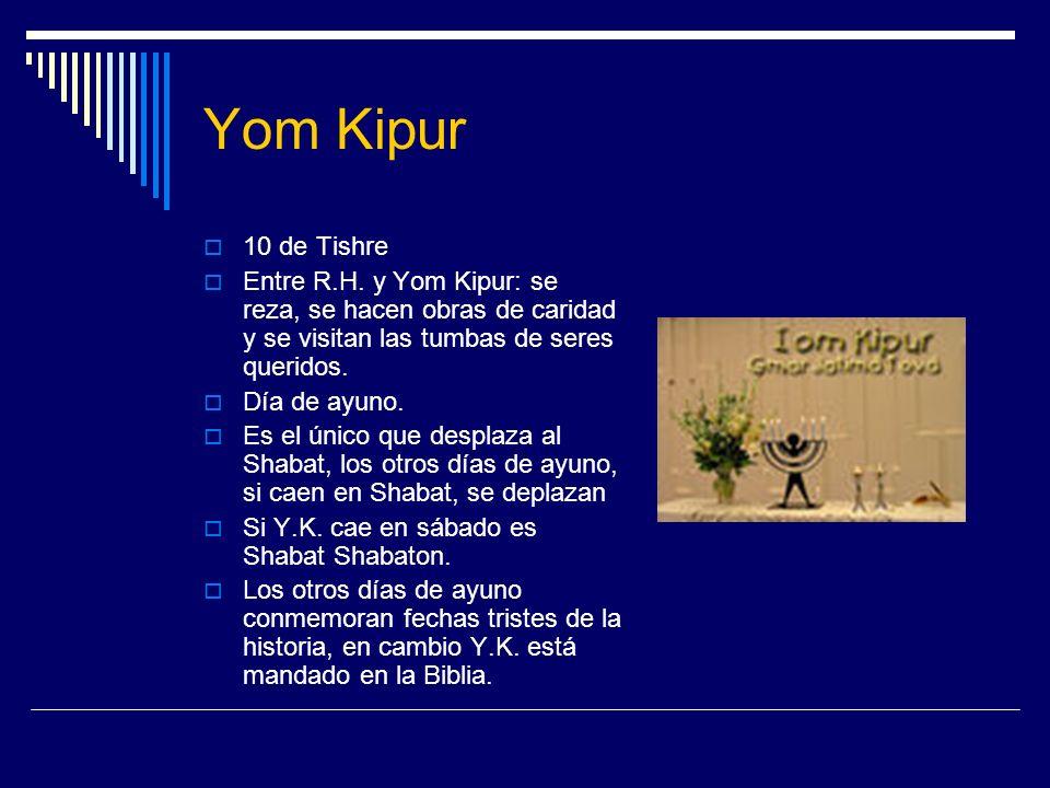 Yom Kipur 10 de Tishre Entre R.H. y Yom Kipur: se reza, se hacen obras de caridad y se visitan las tumbas de seres queridos. Día de ayuno. Es el único