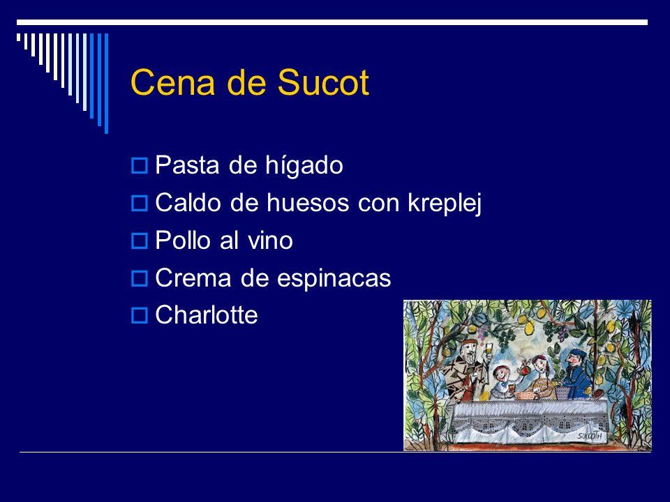 Cena de Sucot Pasta de hígado Caldo de huesos con kreplej Pollo al vino Crema de espinacas Charlotte