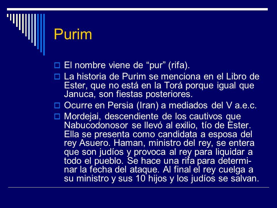 Purim El nombre viene de pur (rifa). La historia de Purim se menciona en el Libro de Ester, que no está en la Torá porque igual que Januca, son fiesta