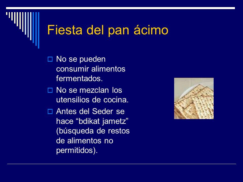 Fiesta del pan ácimo No se pueden consumir alimentos fermentados. No se mezclan los utensilios de cocina. Antes del Seder se hace bdikat jametz (búsqu