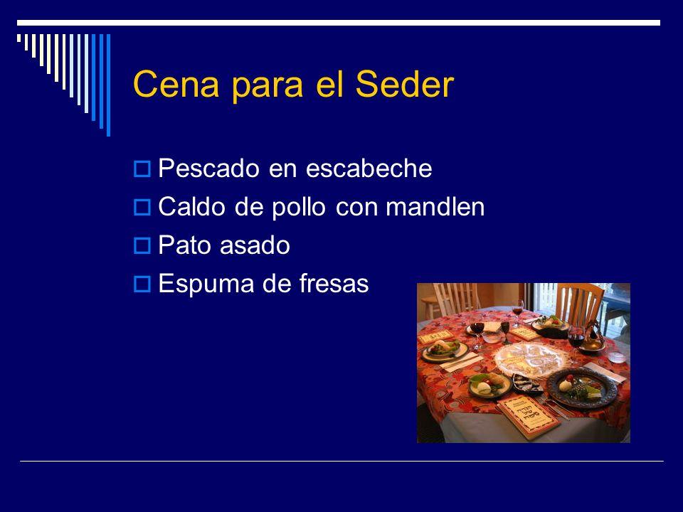 Cena para el Seder Pescado en escabeche Caldo de pollo con mandlen Pato asado Espuma de fresas