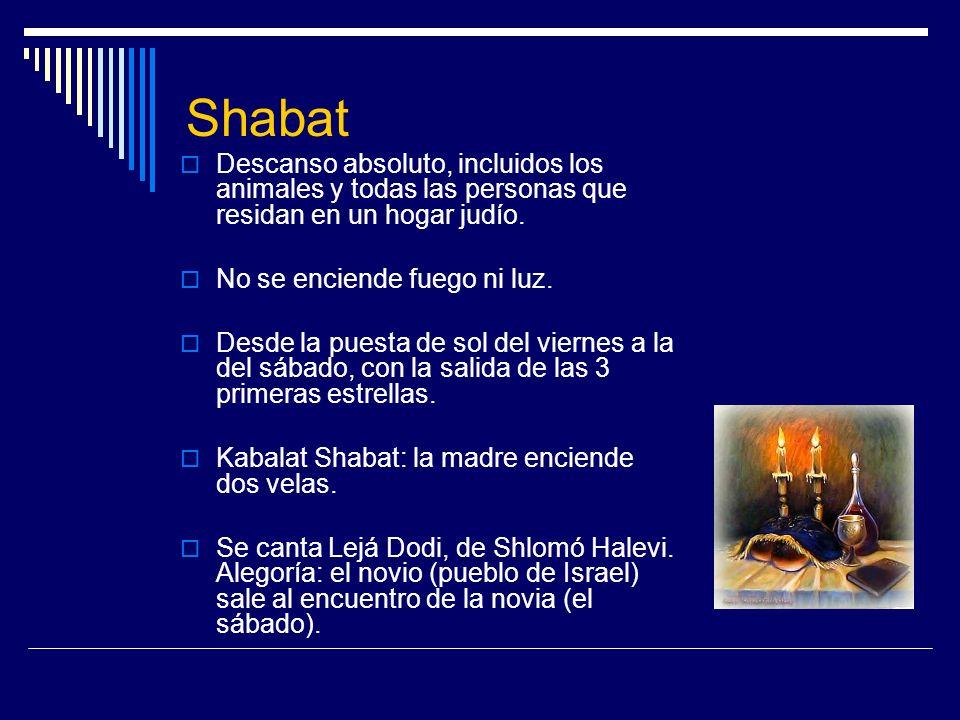Shabat Descanso absoluto, incluidos los animales y todas las personas que residan en un hogar judío. No se enciende fuego ni luz. Desde la puesta de s