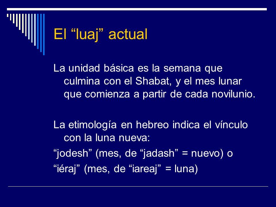 El luaj actual La unidad básica es la semana que culmina con el Shabat, y el mes lunar que comienza a partir de cada novilunio. La etimología en hebre