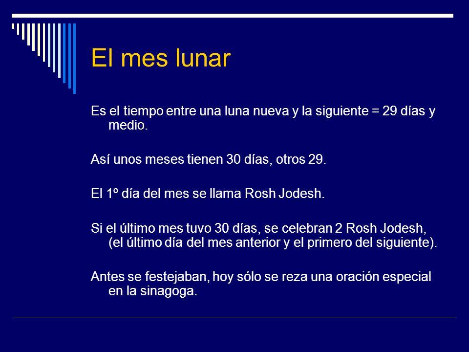 El mes lunar Es el tiempo entre una luna nueva y la siguiente = 29 días y medio. Así unos meses tienen 30 días, otros 29. El 1º día del mes se llama R