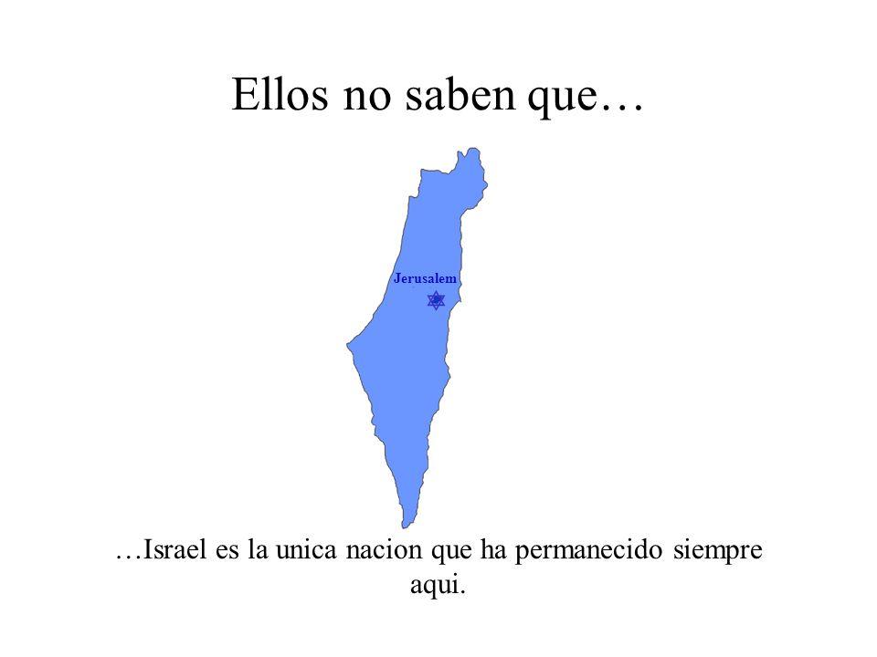 Jerusalem Ellos no saben que… …ningun otro pueblo creo un pais para reemplazar a Israel.