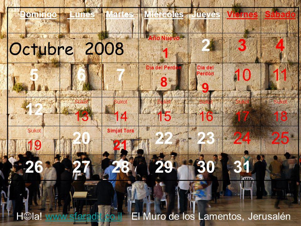 SábadoViernesJuevesMiércolesMartes LunesDomingo 1 8765432 1514131211 10 Día de Rabin 9 22212019181716 292827262524 23/30 Noviembre 2008 H la.