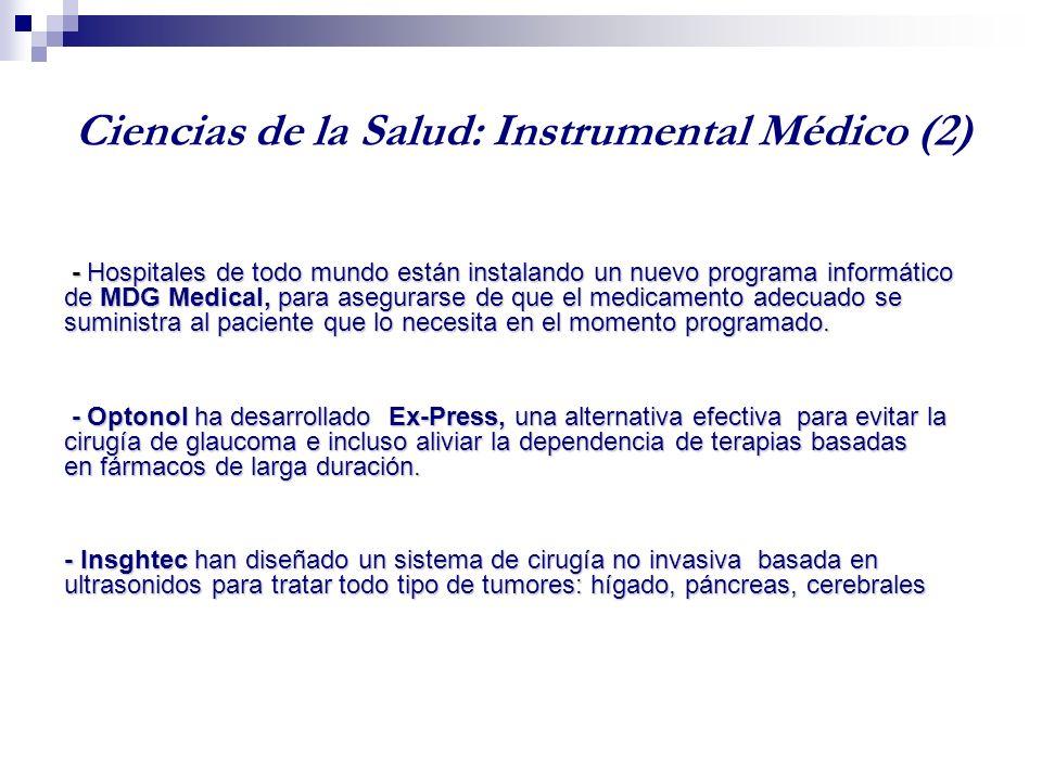 Ciencias de la Salud: Instrumental Médico (1) - Israel ocupa el séptimo lugar del mundo en valores absolutos en número de patentes de instrumental médico y es el primero en valores per capita.