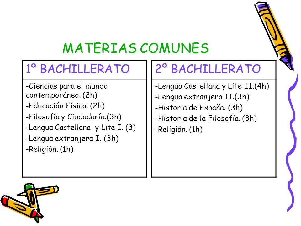 MATERIAS COMUNES 1º BACHILLERATO -Ciencias para el mundo contemporáneo. (2h) -Educación Física. (2h) -Filosofía y Ciudadanía.(3h) -Lengua Castellana y