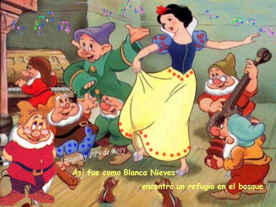 Al despertar : OH, sorpresa los que allí vivían eran enanitos! Se encontró rodeada de siete pequeñitos que al enterarse de lo que ocurría prometieron