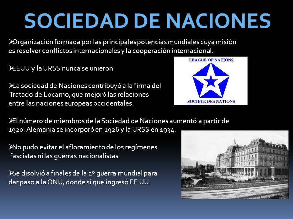 Organización formada por las principales potencias mundiales cuya misión es resolver conflictos internacionales y la cooperación internacional. EEUU y