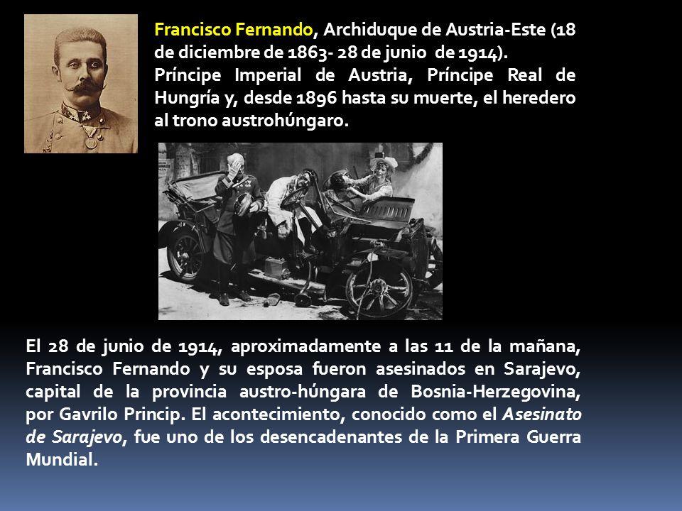 Francisco Fernando, Archiduque de Austria-Este (18 de diciembre de 1863- 28 de junio de 1914). Príncipe Imperial de Austria, Príncipe Real de Hungría