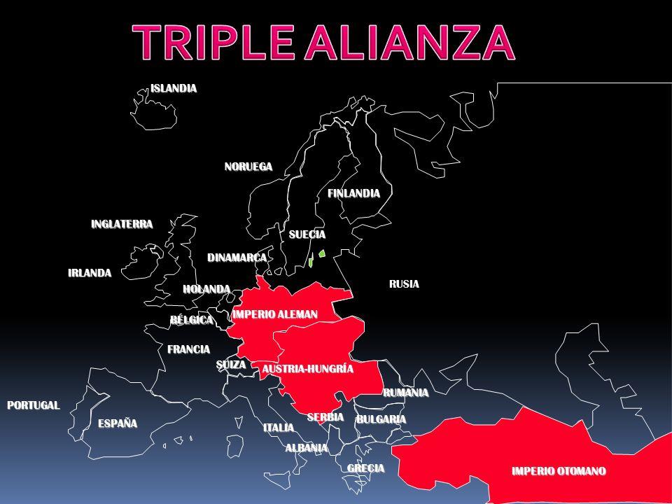 PORTUGAL IMPERIO ALEMAN AUSTRIA-HUNGRÍA RUSIA INGLATERRA FRANCIA ESPAÑA ITALIAISLANDIANORUEGA FINLANDIA DINAMARCA HOLANDA IRLANDA BÉLGICA ALBANIA SUIZA RUMANIA SERBIA GRECIA BULGARIA IMPERIO OTOMANO SUECIA