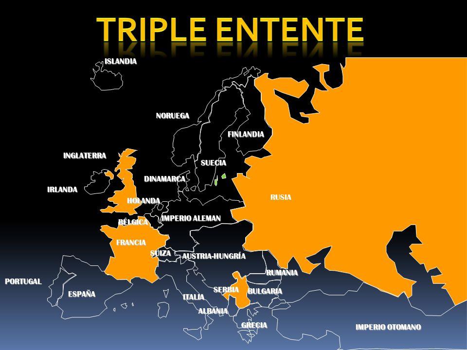 PORTUGAL IMPERIO ALEMAN AUSTRIA-HUNGRÍA RUSIA INGLATERRA FRANCIA ESPAÑA ITALIAISLANDIANORUEGA FINLANDIA DINAMARCA HOLANDA IRLANDA BÉLGICA ALBANIA SUIZA RUMANIA SERBIA BULGARIA IMPERIO OTOMANO SUECIA