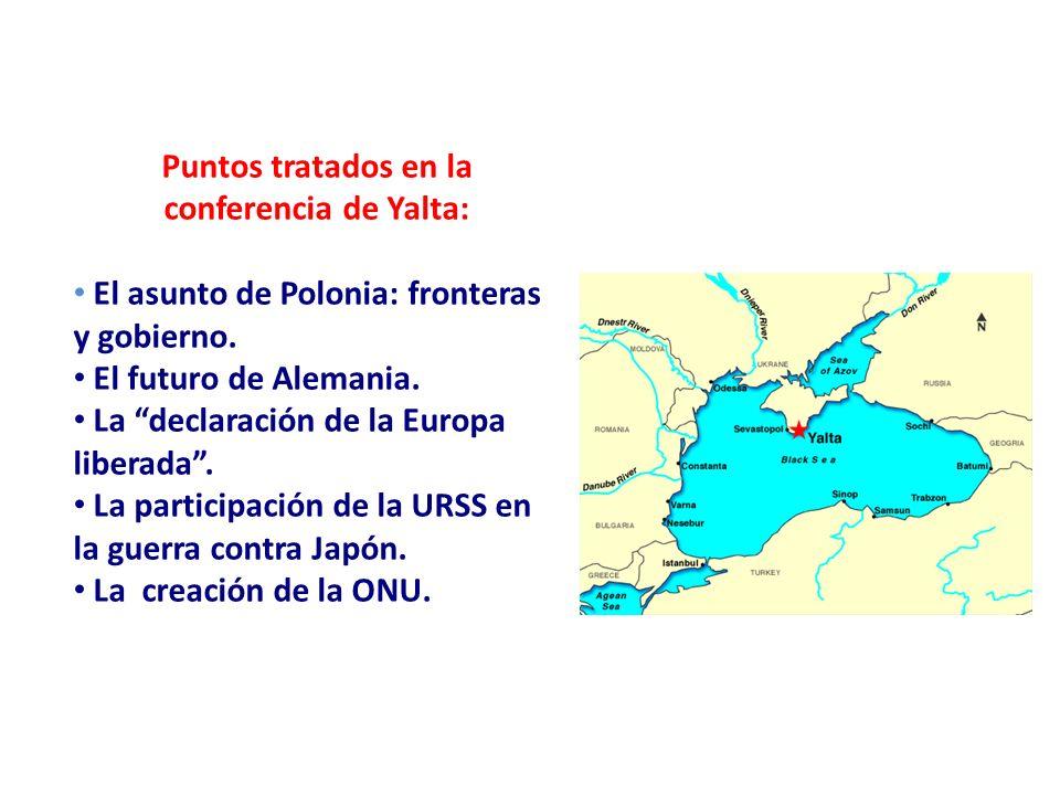 Puntos tratados en la conferencia de Yalta: El asunto de Polonia: fronteras y gobierno. El futuro de Alemania. La declaración de la Europa liberada. L