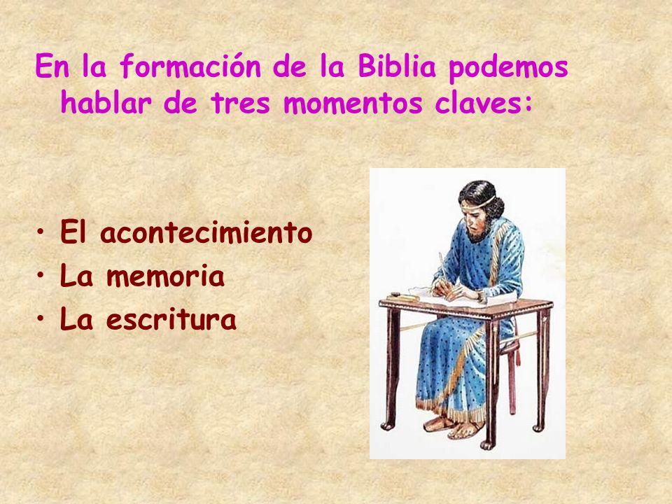 En la formación de la Biblia podemos hablar de tres momentos claves: El acontecimiento La memoria La escritura