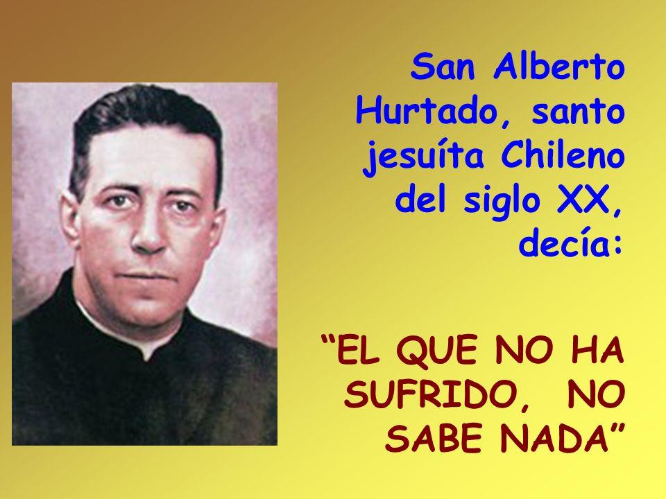 San Alberto Hurtado, santo jesuíta Chileno del siglo XX, decía: EL QUE NO HA SUFRIDO, NO SABE NADA
