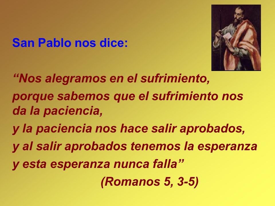 San Pablo nos dice: Nos alegramos en el sufrimiento, porque sabemos que el sufrimiento nos da la paciencia, y la paciencia nos hace salir aprobados, y