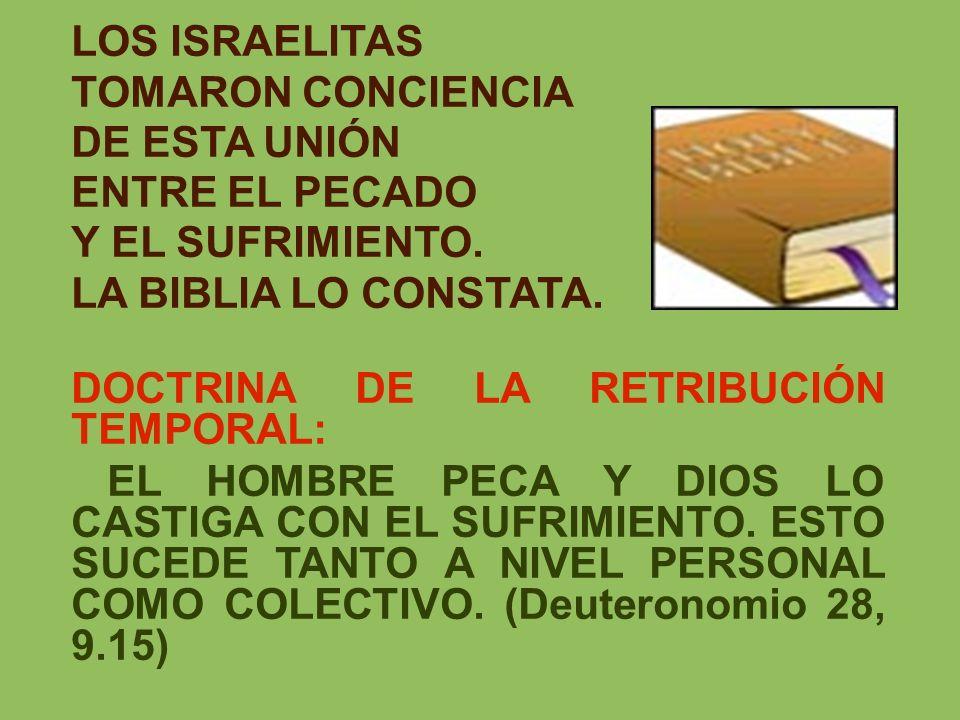 LOS ISRAELITAS TOMARON CONCIENCIA DE ESTA UNIÓN ENTRE EL PECADO Y EL SUFRIMIENTO. LA BIBLIA LO CONSTATA. DOCTRINA DE LA RETRIBUCIÓN TEMPORAL: EL HOMBR