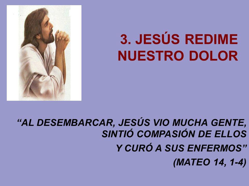 3. JESÚS REDIME NUESTRO DOLOR AL DESEMBARCAR, JESÚS VIO MUCHA GENTE, SINTIÓ COMPASIÓN DE ELLOS Y CURÓ A SUS ENFERMOS (MATEO 14, 1-4)