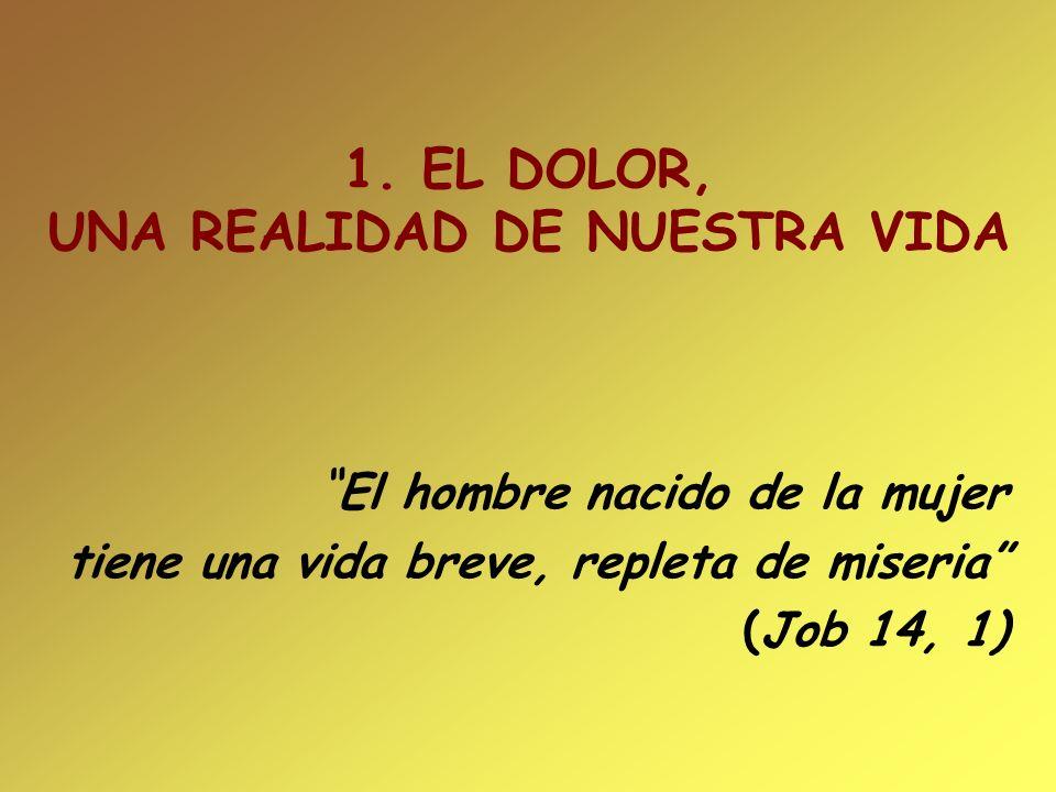 1. EL DOLOR, UNA REALIDAD DE NUESTRA VIDA El hombre nacido de la mujer tiene una vida breve, repleta de miseria (Job 14, 1)
