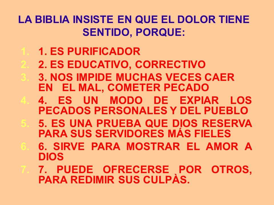 LA BIBLIA INSISTE EN QUE EL DOLOR TIENE SENTIDO, PORQUE: 1.1. ES PURIFICADOR 2.2. ES EDUCATIVO, CORRECTIVO 3.3. NOS IMPIDE MUCHAS VECES CAER EN EL MAL