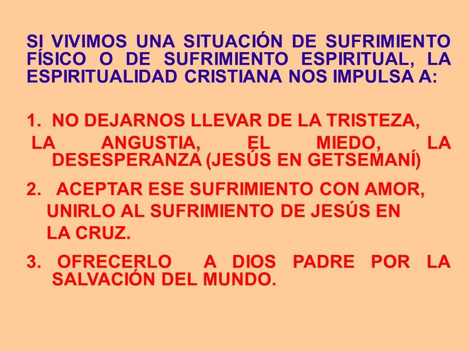 SI VIVIMOS UNA SITUACIÓN DE SUFRIMIENTO FÍSICO O DE SUFRIMIENTO ESPIRITUAL, LA ESPIRITUALIDAD CRISTIANA NOS IMPULSA A: 1. NO DEJARNOS LLEVAR DE LA TRI
