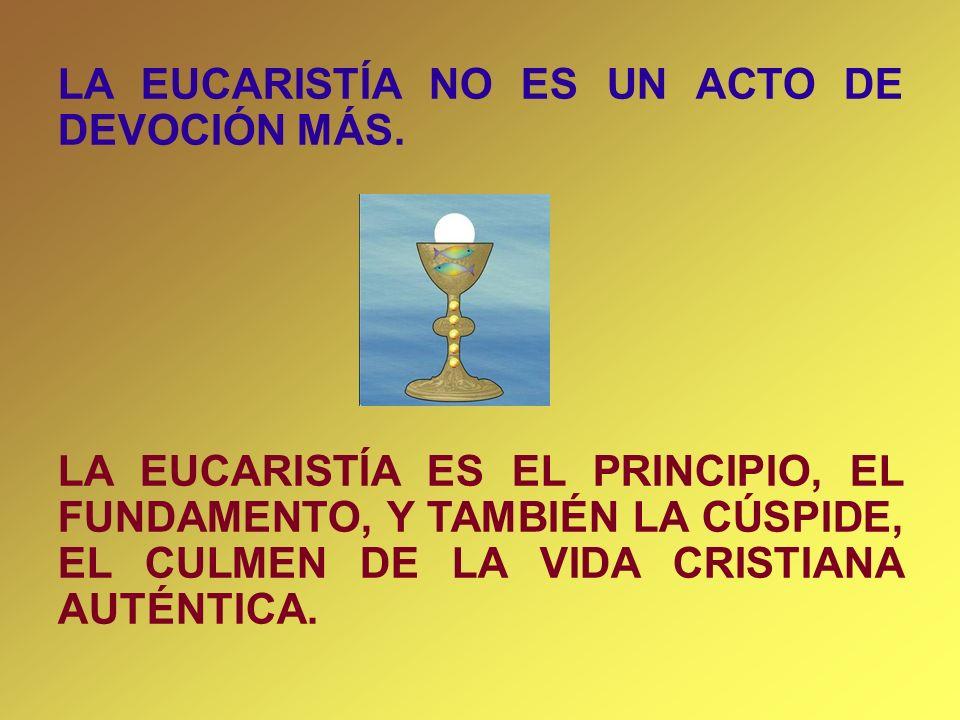 LA EUCARISTÍA NO ES UN ACTO DE DEVOCIÓN MÁS. LA EUCARISTÍA ES EL PRINCIPIO, EL FUNDAMENTO, Y TAMBIÉN LA CÚSPIDE, EL CULMEN DE LA VIDA CRISTIANA AUTÉNT