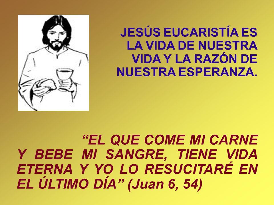 JESÚS EUCARISTÍA ES LA VIDA DE NUESTRA VIDA Y LA RAZÓN DE NUESTRA ESPERANZA. EL QUE COME MI CARNE Y BEBE MI SANGRE, TIENE VIDA ETERNA Y YO LO RESUCITA
