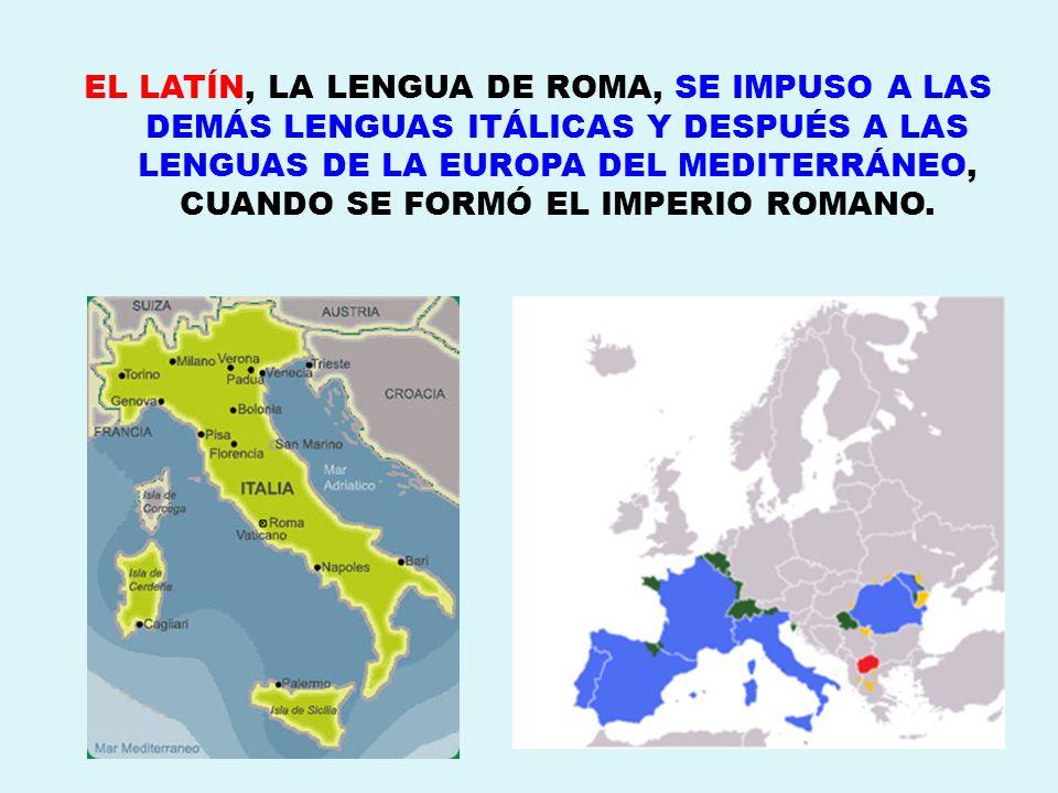 EL LATÍN, LA LENGUA DE ROMA, SE IMPUSO A LAS DEMÁS LENGUAS ITÁLICAS Y DESPUÉS A LAS LENGUAS DE LA EUROPA DEL MEDITERRÁNEO, CUANDO SE FORMÓ EL IMPERIO