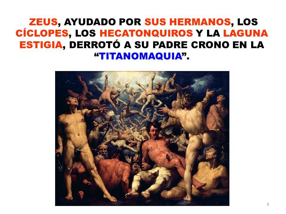4 ZEUS, AYUDADO POR SUS HERMANOS, LOS CÍCLOPES, LOS HECATONQUIROS Y LA LAGUNA ESTIGIA, DERROTÓ A SU PADRE CRONO EN LATITANOMAQUIA.
