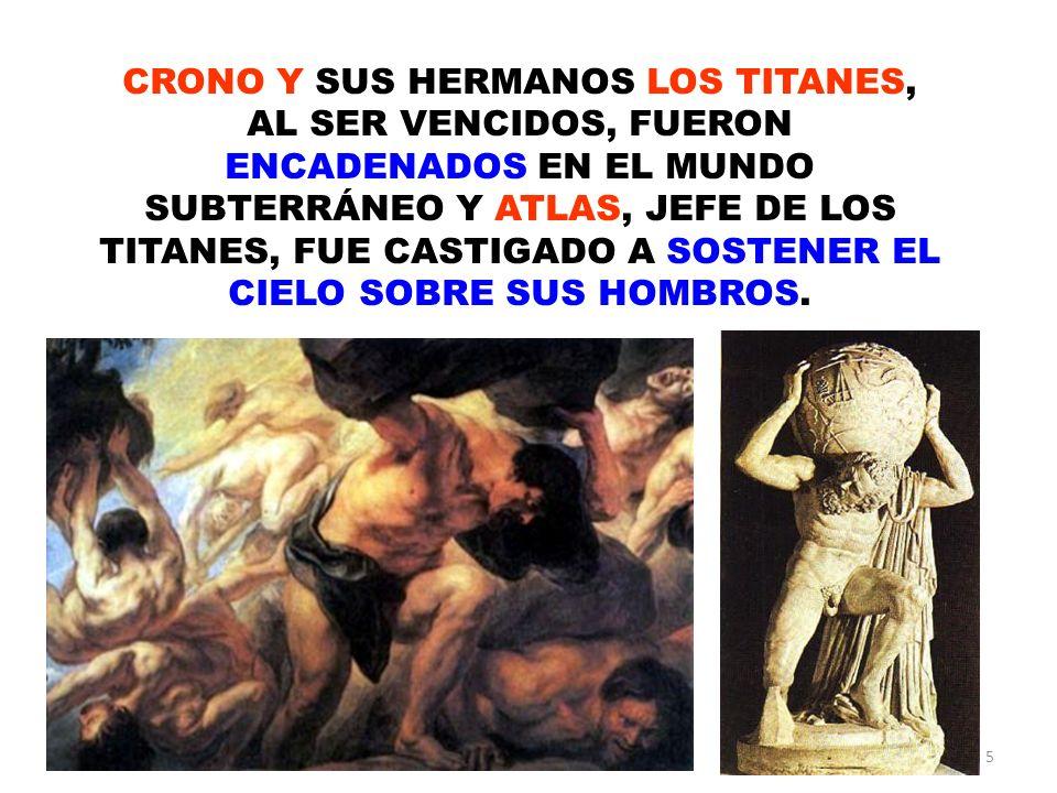 5 CRONO Y SUS HERMANOS LOS TITANES, AL SER VENCIDOS, FUERON ENCADENADOS EN EL MUNDO SUBTERRÁNEO Y ATLAS, JEFE DE LOS TITANES, FUE CASTIGADO A SOSTENER