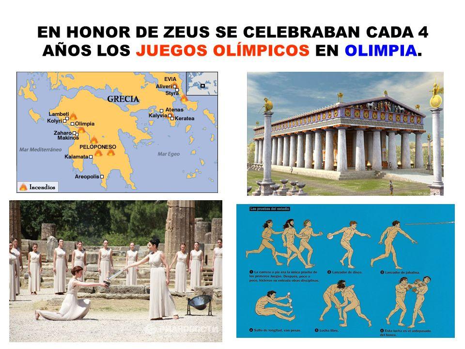 EN HONOR DE ZEUS SE CELEBRABAN CADA 4 AÑOS LOS JUEGOS OLÍMPICOS EN OLIMPIA. 9