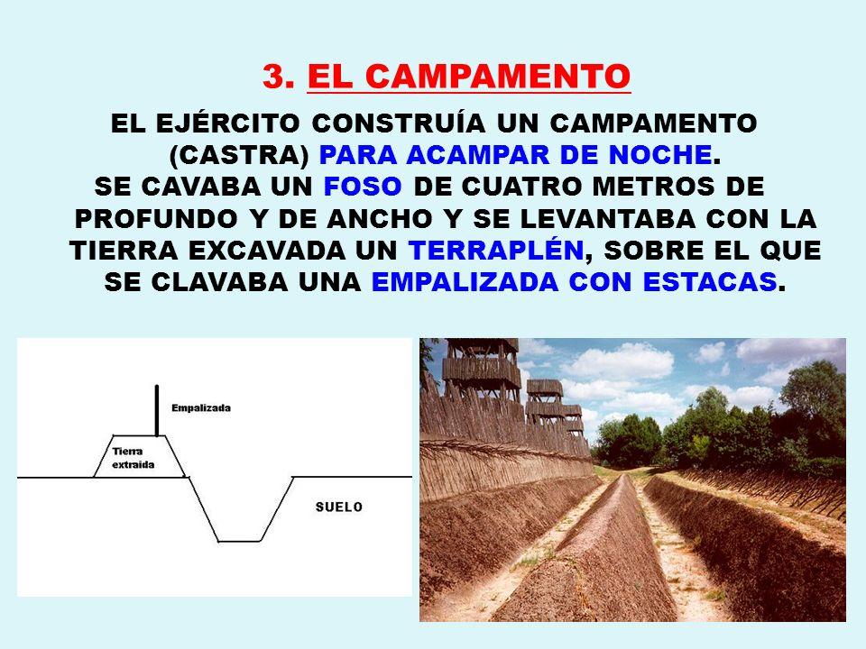 3. EL CAMPAMENTO EL EJÉRCITO CONSTRUÍA UN CAMPAMENTO (CASTRA) PARA ACAMPAR DE NOCHE. SE CAVABA UN FOSO DE CUATRO METROS DE PROFUNDO Y DE ANCHO Y SE LE