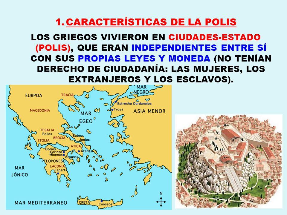 1.CARACTERÍSTICAS DE LA POLIS LOS GRIEGOS VIVIERON EN CIUDADES-ESTADO (POLIS), QUE ERAN INDEPENDIENTES ENTRE SÍ CON SUS PROPIAS LEYES Y MONEDA (NO TEN
