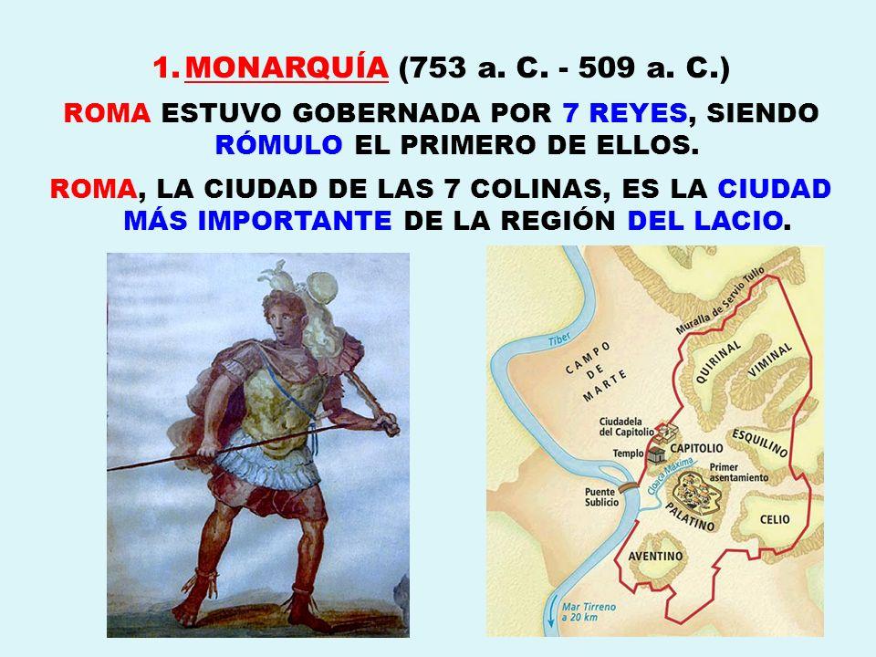 1.MONARQUÍA (753 a. C. - 509 a. C.) ROMA ESTUVO GOBERNADA POR 7 REYES, SIENDO RÓMULO EL PRIMERO DE ELLOS. ROMA, LA CIUDAD DE LAS 7 COLINAS, ES LA CIUD