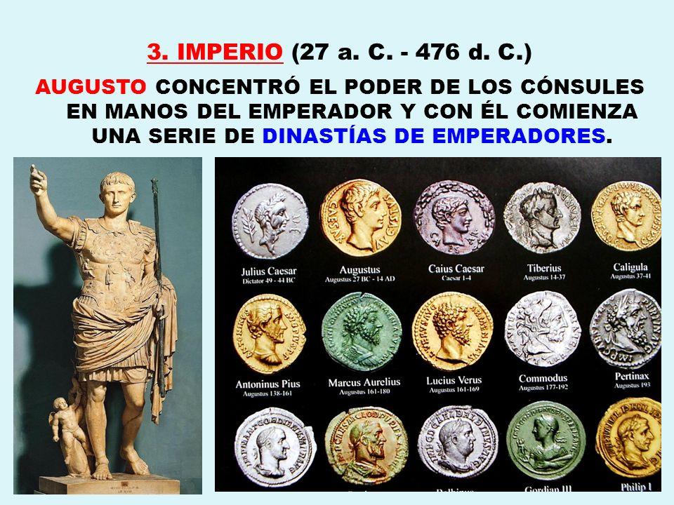 3. IMPERIO (27 a. C. - 476 d. C.) AUGUSTO CONCENTRÓ EL PODER DE LOS CÓNSULES EN MANOS DEL EMPERADOR Y CON ÉL COMIENZA UNA SERIE DE DINASTÍAS DE EMPERA
