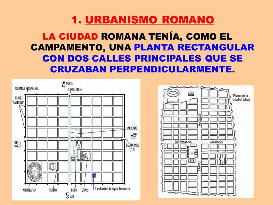 1. URBANISMO ROMANO LA CIUDAD ROMANA TENÍA, COMO EL CAMPAMENTO, UNA PLANTA RECTANGULAR CON DOS CALLES PRINCIPALES QUE SE CRUZABAN PERPENDICULARMENTE.
