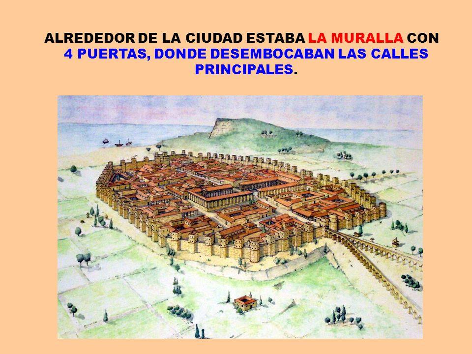 ALREDEDOR DE LA CIUDAD ESTABA LA MURALLA CON 4 PUERTAS, DONDE DESEMBOCABAN LAS CALLES PRINCIPALES.