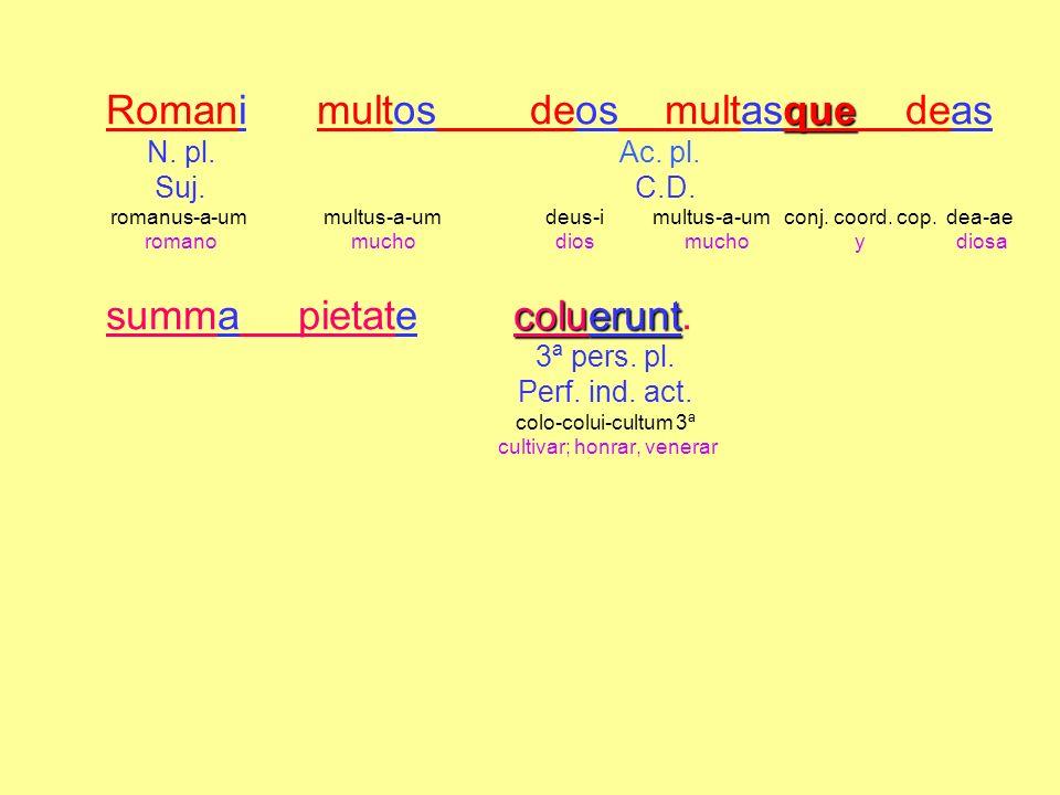 Romani multos deos multasque deas N. pl. Ac. pl. Suj. C.D. romanus-a-um multus-a-um deus-i multus-a-um conj. coord. cop. dea-ae romano mucho dios much