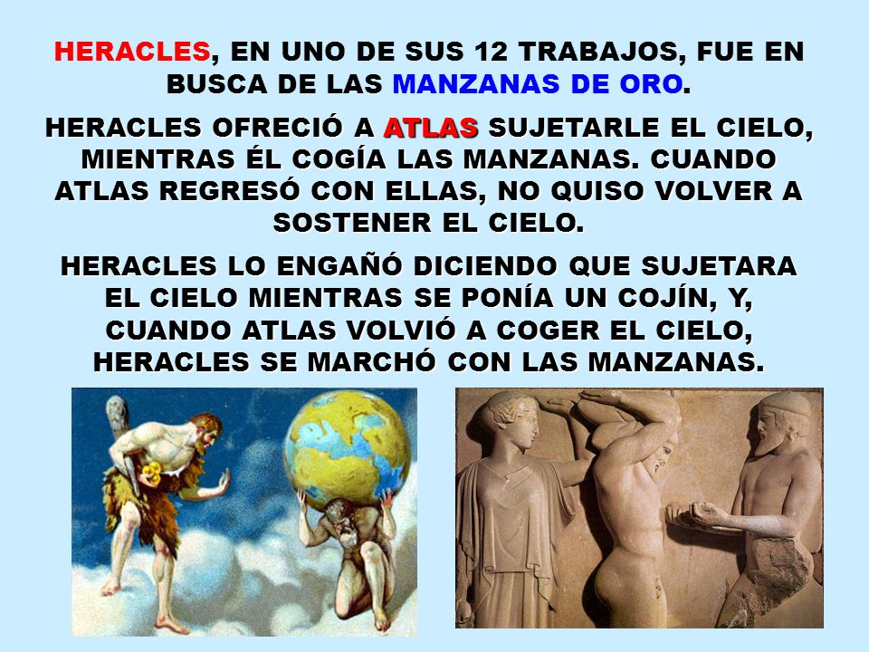 HERACLES, EN UNO DE SUS 12 TRABAJOS, FUE EN BUSCA DE LAS MANZANAS DE ORO. HERACLES OFRECIÓ A ATLAS SUJETARLE EL CIELO, MIENTRAS ÉL COGÍA LAS MANZANAS.