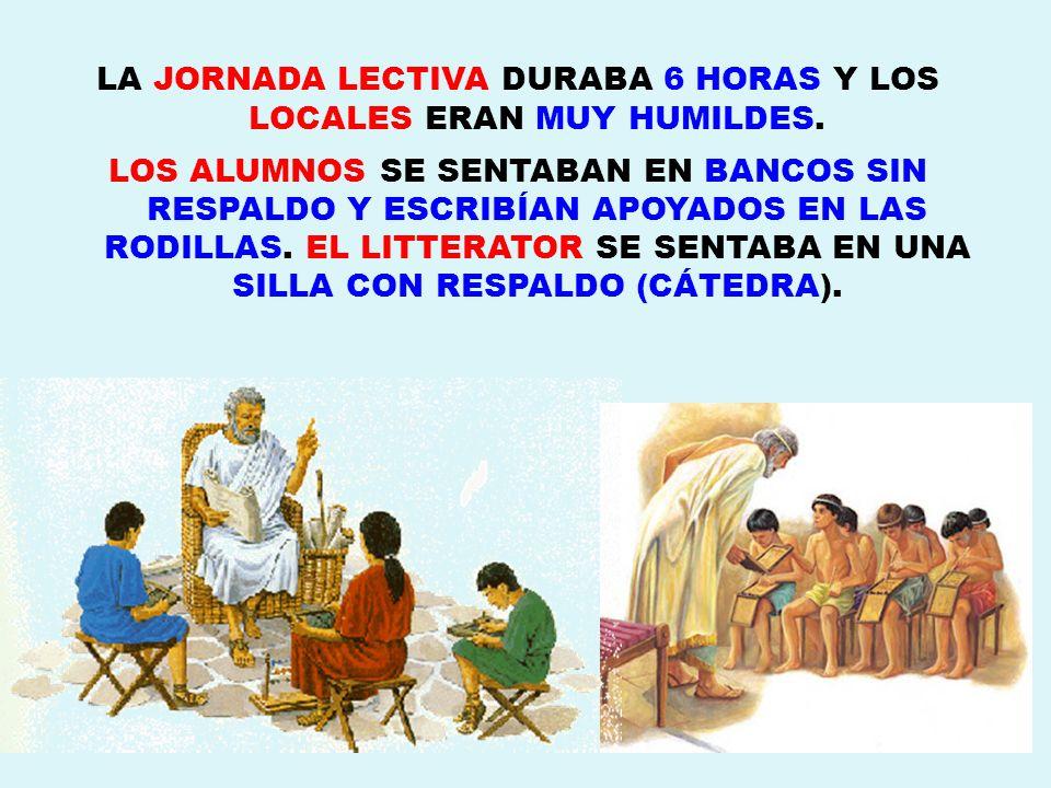 LA JORNADA LECTIVA DURABA 6 HORAS Y LOS LOCALES ERAN MUY HUMILDES. LOS ALUMNOS SE SENTABAN EN BANCOS SIN RESPALDO Y ESCRIBÍAN APOYADOS EN LAS RODILLAS