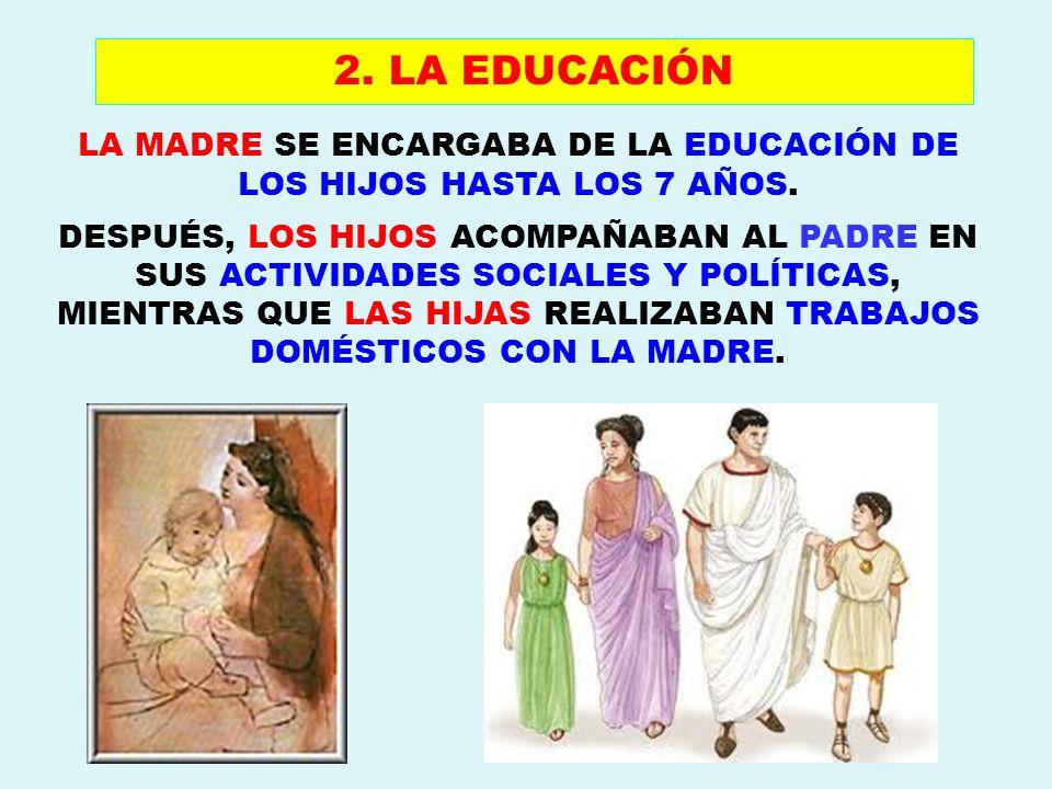 LA MADRE SE ENCARGABA DE LA EDUCACIÓN DE LOS HIJOS HASTA LOS 7 AÑOS. DESPUÉS, LOS HIJOS ACOMPAÑABAN AL PADRE EN SUS ACTIVIDADES SOCIALES Y POLÍTICAS,