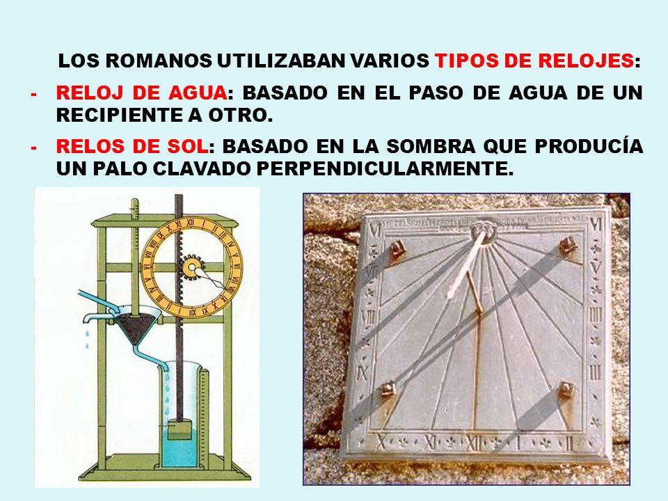 LOS ROMANOS UTILIZABAN VARIOS TIPOS DE RELOJES: -RELOJ DE AGUA: BASADO EN EL PASO DE AGUA DE UN RECIPIENTE A OTRO. -RELOS DE SOL: BASADO EN LA SOMBRA